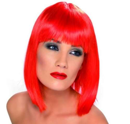 Ladies 80s 1980s Glam Fancy Dress Wig Neon Red Hen Party by Smiffys