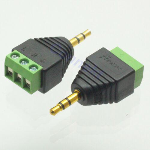 """2pc 3.5mm 1//8/"""" Stereo Male Plug To AV Screw Video AV Balun Terminal Plug Adapter"""