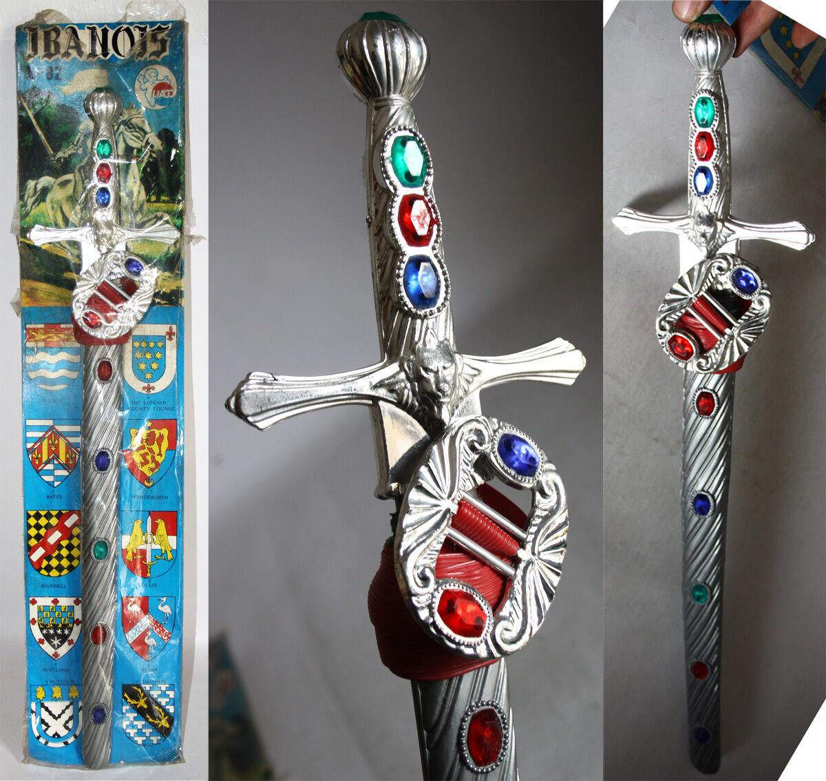 RARE VINTAGE 70'S PLASTIC 23  IVANHOE SWORD & BELT BY LIACO GREECE GREEK NEW