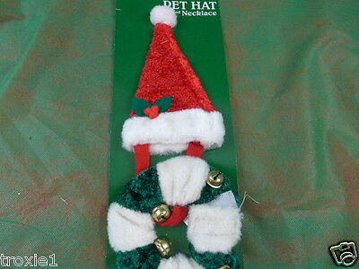 Dog or Cat Santa Hat & Scrunchie Color Red Green & White New Please Read Listing