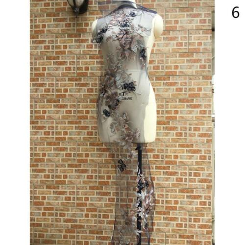 3D Flower Embroidery Bridal Lace Applique  Beaded Tulle DIY Wedding Dress hq