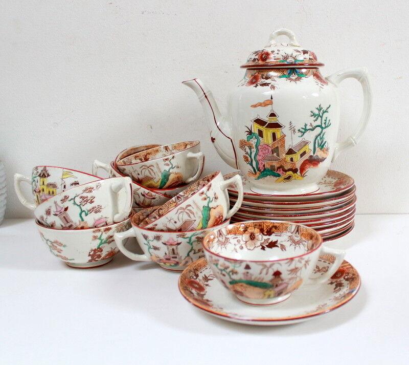 Service thé   café japonisant ancien Digoin Sarreguemines 21 pièces