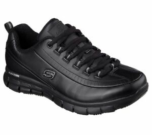Black-Skechers-Work-shoes-Women-Memory-Foam-76550-Slip-Resistant-Leather-EH-Lace