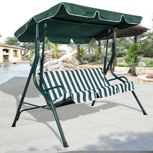 Image Is Loading Green Outdoor Patio Swing Canopy 3 Person Awning