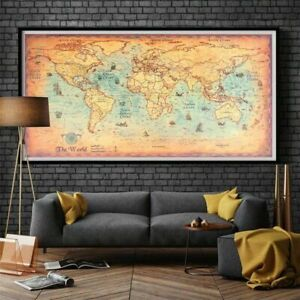 Vintage-World-Map-Retro-Old-Paper-Nautical-Chart-Ocean-Sea-Painting-Wall-Posters