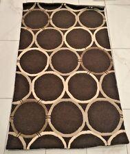 Pottery Barn Retro Rings Tapia Brown Round Circle Geometric Wool Rug Carpet NWT