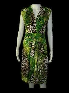 Womens Joseph Ribkoff Animal Print Polka Dot V Neck Dress Sz Us 10 Uk 2 Ties Ebay