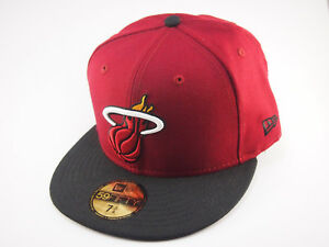 Miami-Heat-New-Era-basketball-cap-NBA-maroon-and-black-59FIFTY-fitted-hat-caps