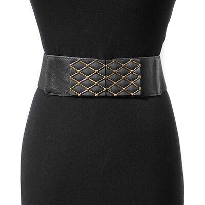 Bling Women Fashion Classy Wide Cinch Elastic Stretch Waist Belt Gold Metal Hook