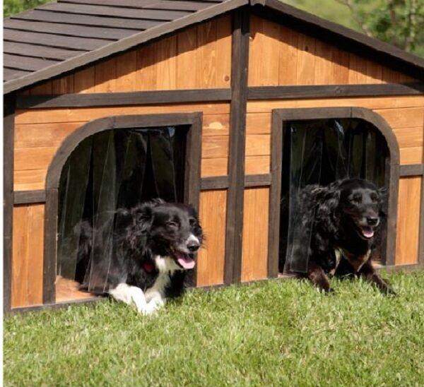 Double Dog House Extra Large Wood Duplex Outdoor Pet