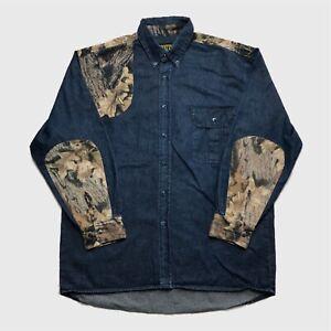 Mens-Vintage-Denim-Shirt-Large-Camo-Patches-Blue