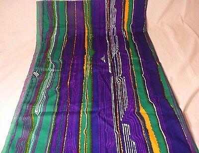 "Vintage Mid Century MOD Groovy Fabric  Green Purple Orange Wavy Lines 30"" x 40"""