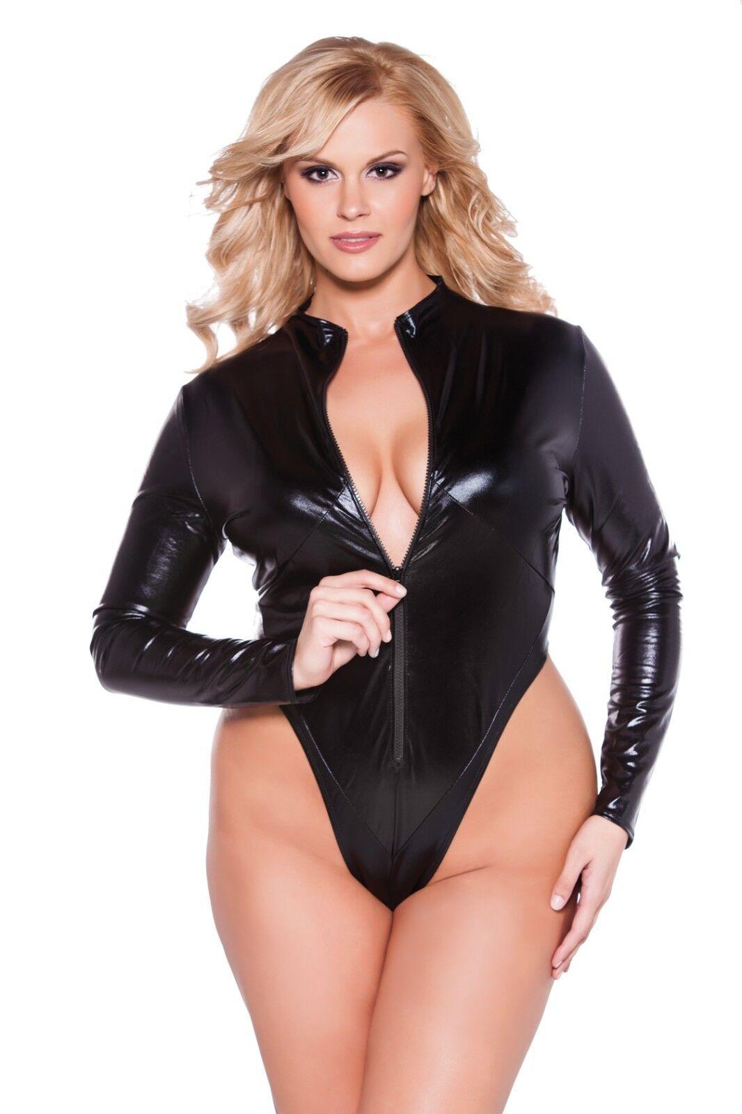NAUGHTY KITTEN WET LOOK BODYSUIT ZIPPER FRONT SEXY CATSUIT TEDDY New Plus Size