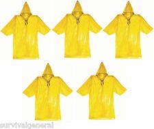 (5) Emergency Rain Poncho Survival Cheap Raincoat Bug Out Bag Doomsday EDC Pack