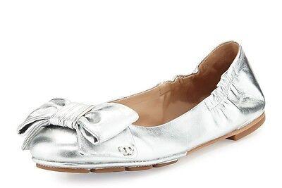08c11b0d4f054 NIB TORY BURCH Divine Bow Metallic Silver Leather Driver Ballet Flat Sz 8.5   250