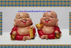 Chinese Happy Money Little Buddha Buddhist Figurine Set
