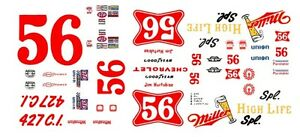 #56 JIM HURTBUTISE 1971 CHEVELLE MILLER HIGH LIFE 1/64th HO Slot Car Decals