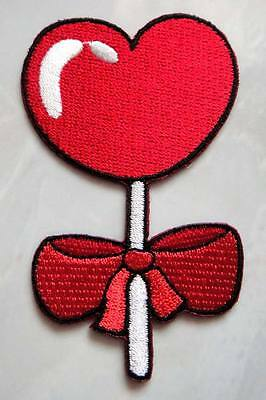 Cute Pretty Red Heart with Red Bow Embroidered Iron on Patch Free Postage
