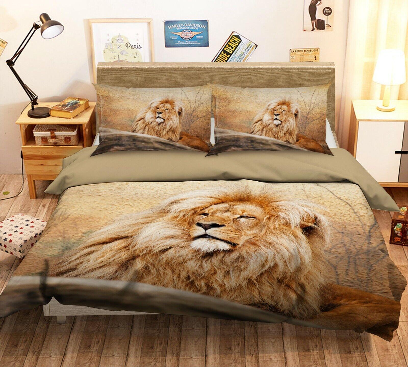3D Lion Fur G12 Animal Bed Pillowcases Quilt Duvet Cover Set Queen King Wendy