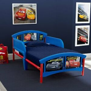Details about Toddler Bed Plastic Frame Child Kids Bedroom Race Car Theme  Cars Home Indoor NEW