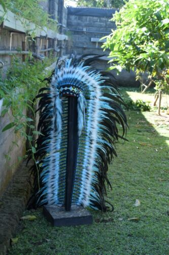 Chief Large Monte Hat Real Feather Headband Indian Headdress Warbonnet Handmade