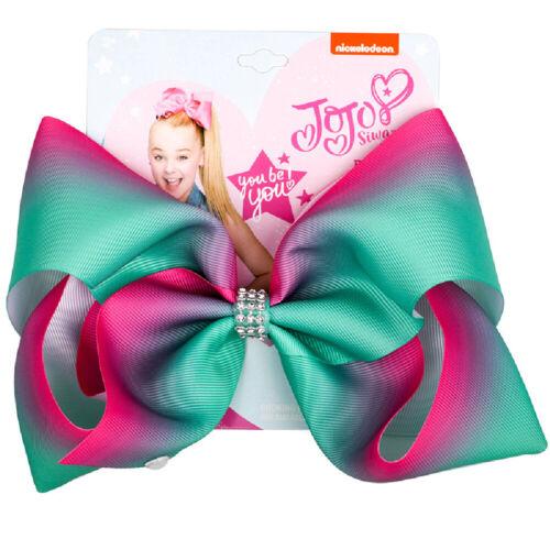 "8/"" Girls Large Hair Bow Fashion Bows Hair Accessories Colorful Ribbon Hair Clips"