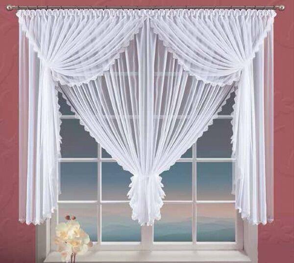 Weiß Voile Netz Vorhang mit Spitze Fensterdekoration für für für Zuhause 360cm X150cm, 95a236