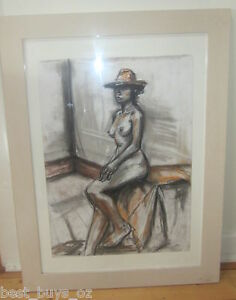 Charcoal-and-Pastel-Nude-siting-Framed-by-Nadia-P-69cm-x-49cm