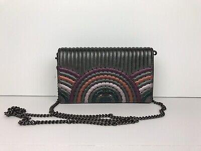 Coach Callie Foldover Chain Clutch Colorblock Leather