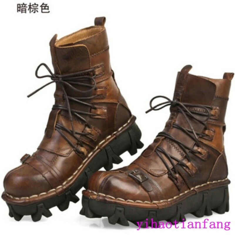 2018 New Fashion Army Combat Leather Skull Ankle Boots Military Lace Up Casual S