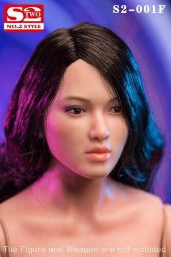 "S2-Studio S2-001F 1//6 Girl Black Curls Head Sculpt Fit 12/"" Suntan Action Figure"