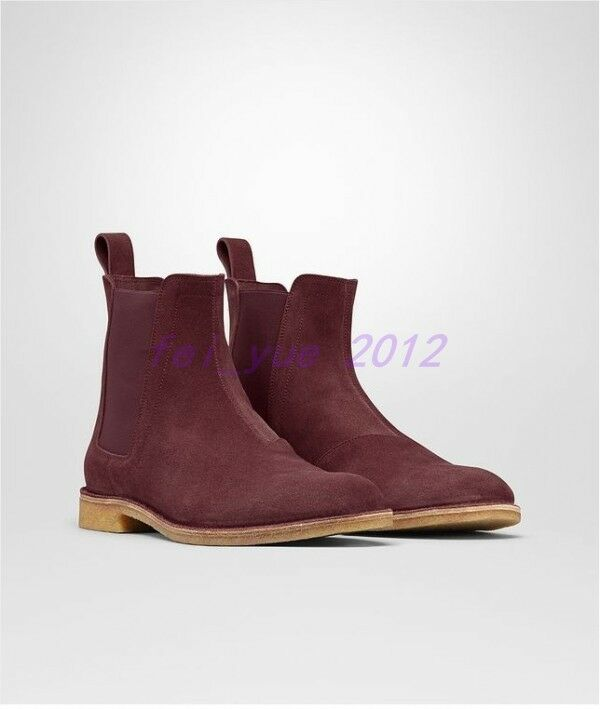 New Uomo Luxury Suede Pelle High Top Stivali Stivali Stivali Flats Oxfords Outdoor Ankle Elastic 0d6435