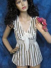 Vintage MISS ME peasant TOP blouse COTTON GAUZE brown white STRIPE new condition
