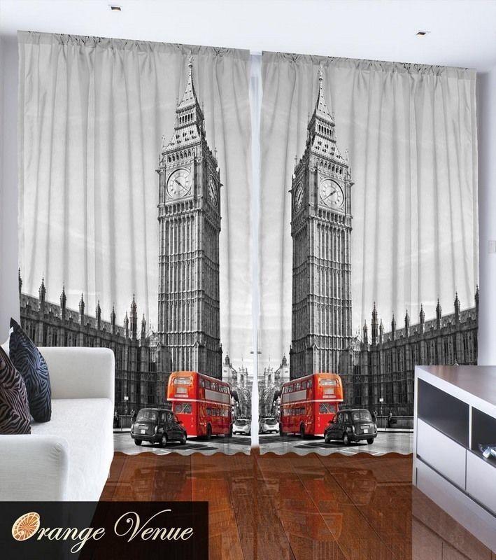 Set Of Two London rot Bus Window Panels Big Ben London City View Home Decor