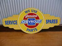 Genuine Chevrolet Parts Metal Tin Sign Bar Hot Rod Chev Bowtie