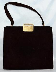 Vintage 1950s Block Dark Brown Suede Leather Handbag Purse