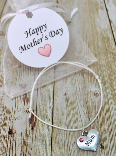 organza bag card tag Mother/'s Day Gift bracelet white mum mummy I love you