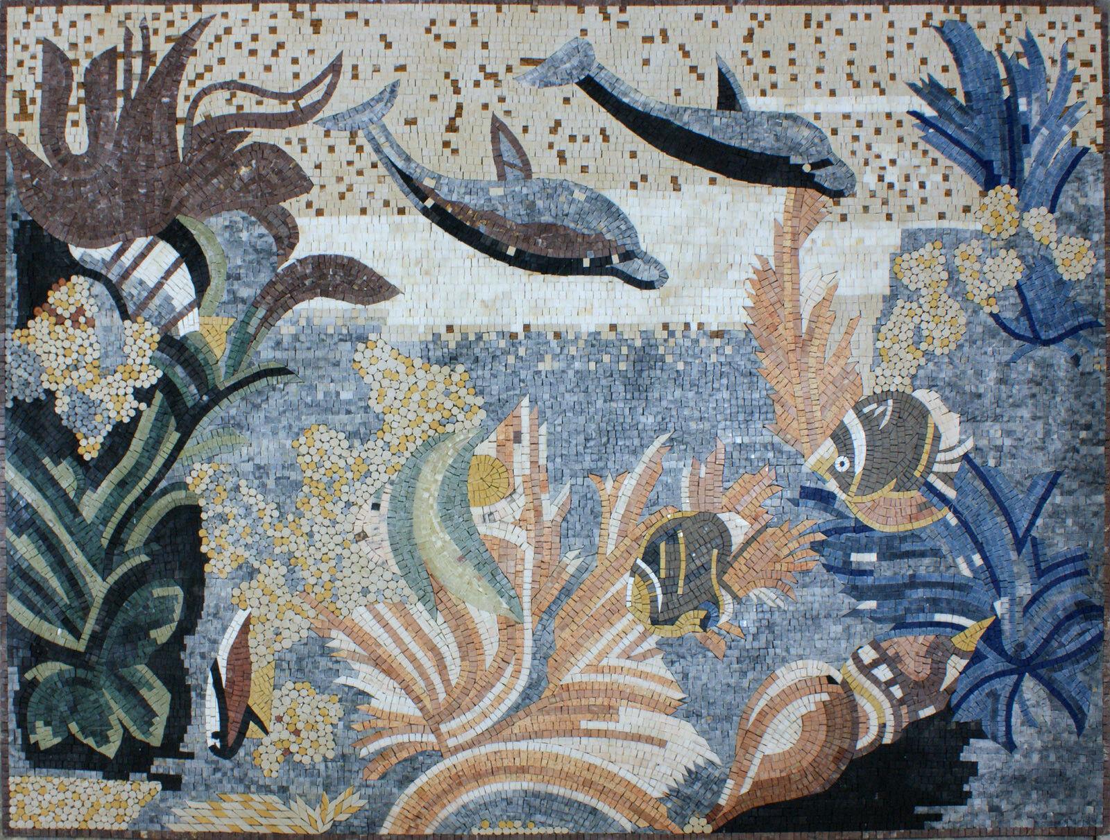 Art Tile Stone Floral Decor Sea World Sea Creatures Marble Mosaic AN890