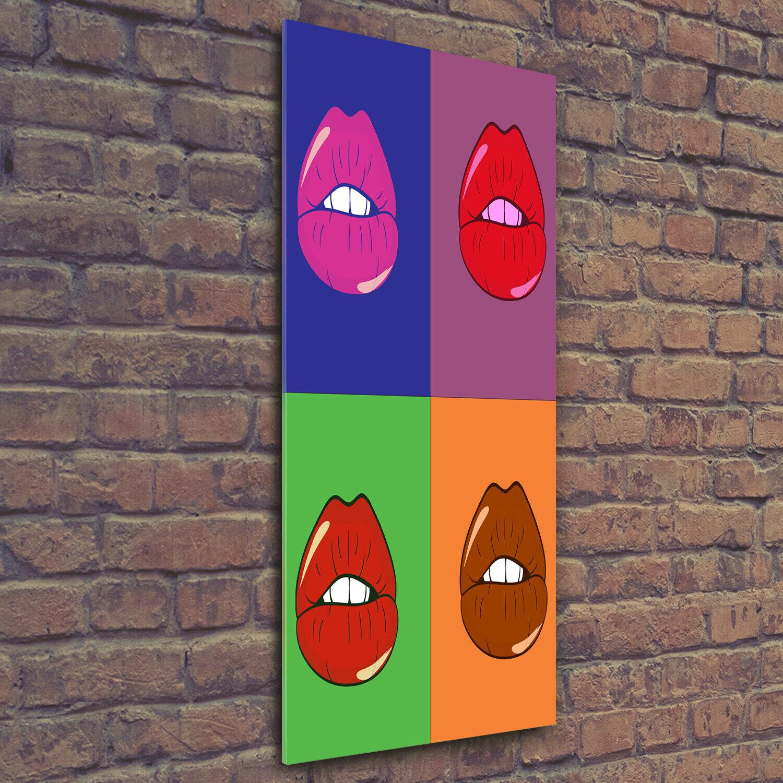 Wandbild Druck auf Plexiglas® Acryl Hochformat 50x125 Bunte Lippen