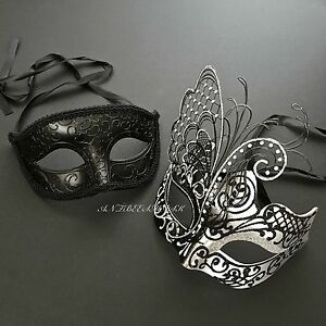 be62ce0d718e Image is loading Black-Accent-Delicate-Couple-Mask-Glitter-and-Crystal-