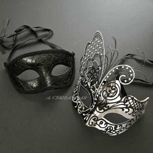 Black Accent Delicate Couple Mask Glitter and Crystal Mask