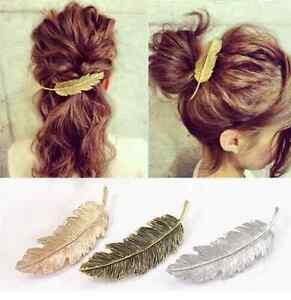 Fashion-Women-Leaf-Feather-Hair-Clip-Hairpin-Barrette-Bobby-Pins-Hair-Accessory