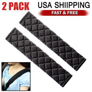 Garciakia 2Pcs Car Comfortable Safety Seat Belt Shoulder Pads Cover Soft Cushion Harness Pad Truck Strap Cover Automotive Accessories Color:black