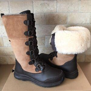 112187f3b2e Details about UGG Atlason Chestnut Waterproof Leather Cuff Tall Rain Snow  Boots Size 9 Womens