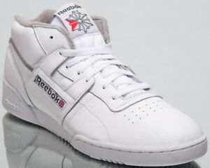 new product 121b0 d3686 Image is loading Reebok-Workout-Clean-Mid-Sneakers-Archive-White-Carbon-