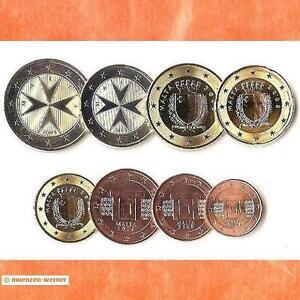 Kursmuenzensatz-Malta-2008-1c-2-Euro-Muenze-KMS-alle-8-Muenzen-Satz-Eurosatz-Set