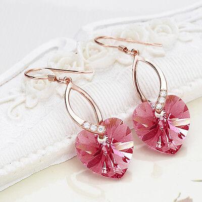 Bridal 925 Sterling Silver Pink Heart Earrings Crystal From Swarovski Crystal