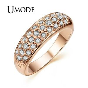 e4dbbf659361 Details about UMODE Ring Classic Anillos Mujer Bague Aros Rose Gold Color  Rhinestones Studded