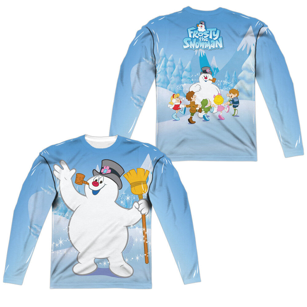 FROSTY SNOWMAN WAVE CHRISTMAS Licensed Adult Men's Long Sleeve Tee Shirt SM-3XL