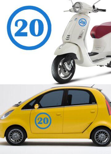 Stiker vinyl cut number Twenty Sticker vinyl number 20 Outdoor or indoor